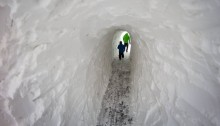 boston snow tunnel, bike path snow tunnel, wellington greenway, medford bike path, medford bike path tunnel